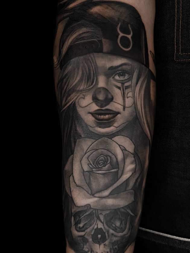 Tattoo Muerta, Rose, Forearm, For Men, Black House Tattoo Prague
