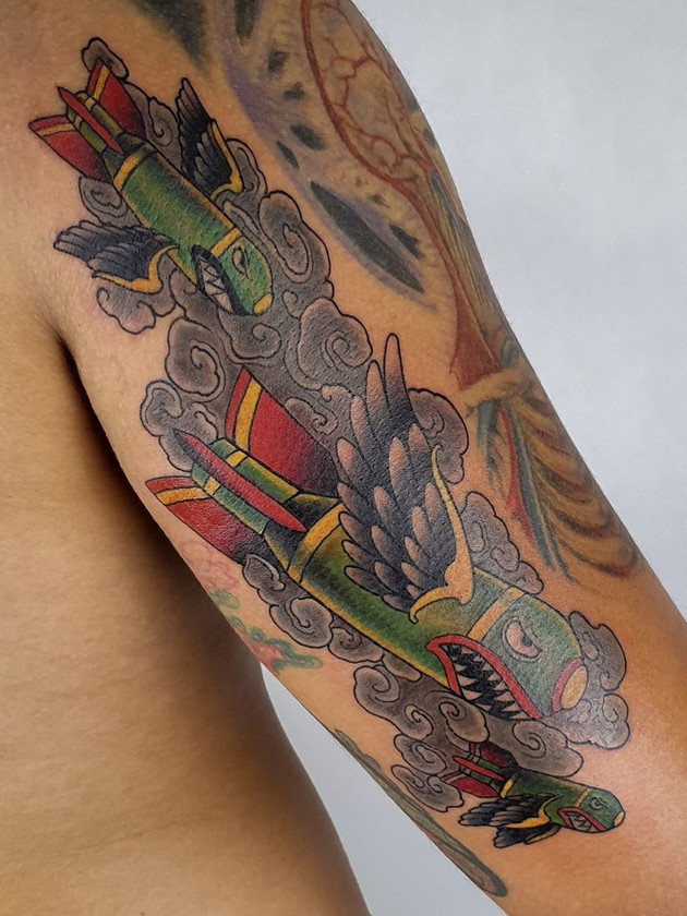 bomb rocket - neo-traditional - black house tattoo
