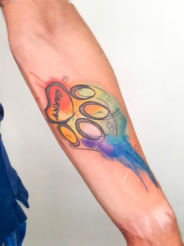 iris patte de chien - aquarelle tatouages - aquarelle tatouages - black house tattoo prague
