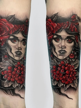 portrait of woman tattoo - neo-traditional - black house tattoo