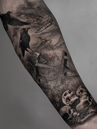 war on forearm - black and white tattoo - black house tattoo prague