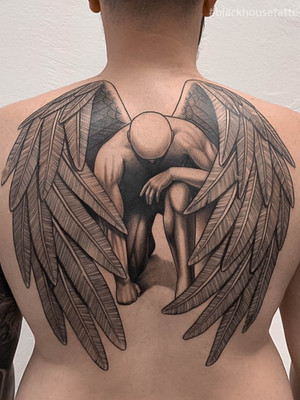 Tetování anděl na záda pro muže