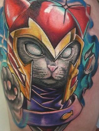 magneto tomcat - newschool tattoo - black house tattoo