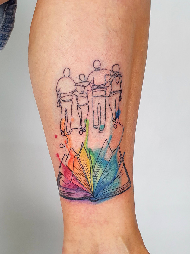 family book iris - watercolor tattoo - watercolor tattoo - black house tattoo prague