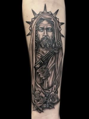 Tatouage Muerta, Cuisse, Pour Les Hommes, Black House Tattoo Prague