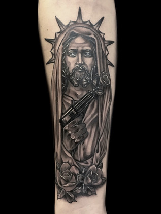 Tattoo Muerta, Thigh, For Men, Black House Tattoo Prague