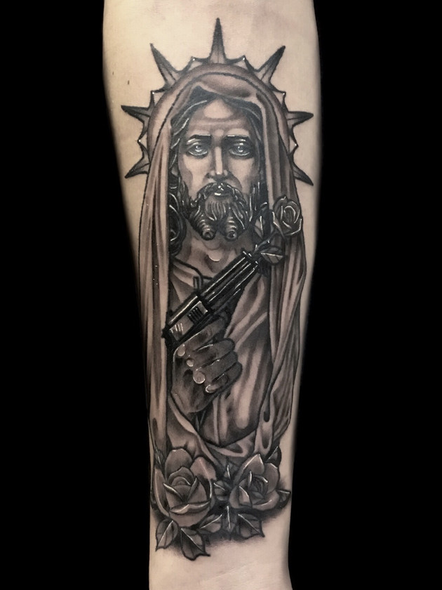 Tattoo Muerta, Thigh, For Men, Black House Tattoo Prague