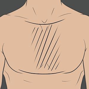 Tetování ve středu hrudníku a mezí prsy