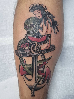rusalka na anchor - oldschool tattoo - black house tattoo prague