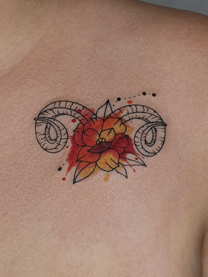 fleur ram - tatouage aquarelle - tatouage aquarelle - tatouage maison noire prague