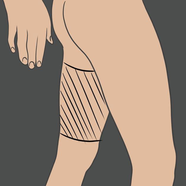 Tetování na vnitřní stranu stehna