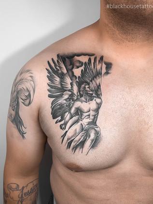 Tetování anděl na prso pro muže