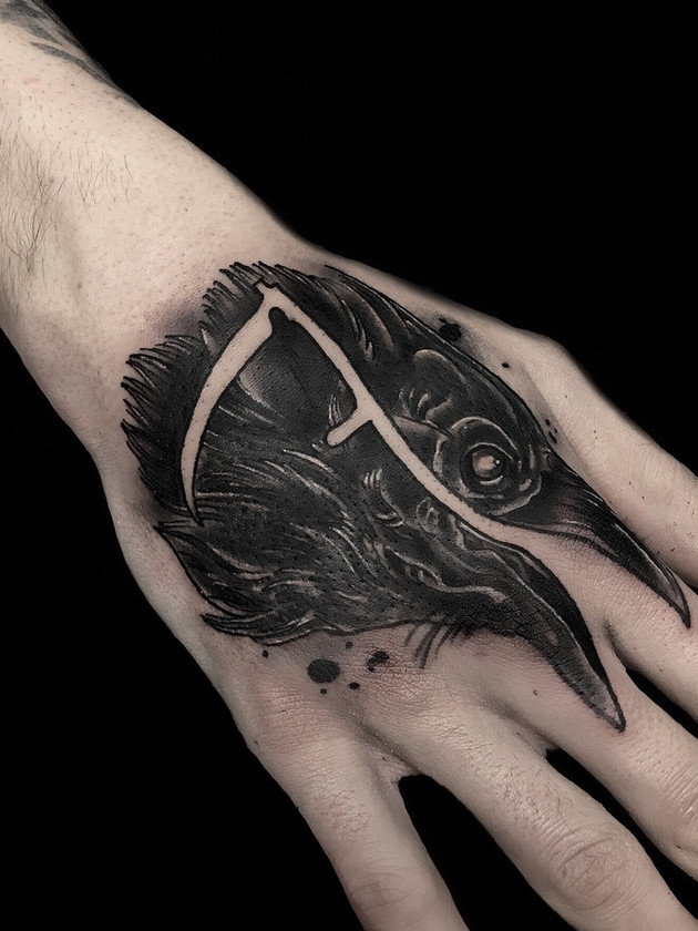 raven with scythe tattoo - neo-traditional - black house tattoo