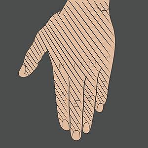 Tetování na hřbet ruky a prsty (rukavice)