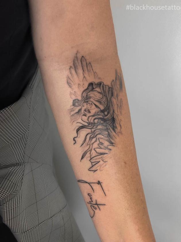 Tetování anděl na předloktí