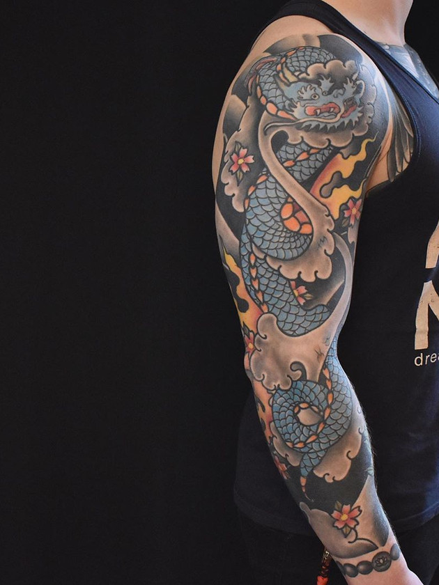Blue Dragon Sleeve Tattoos - Back Dragon Tattoos - Japanese Tattoos - Black House Tattoo Prague - Tattoos for Men - Tattoos for Women