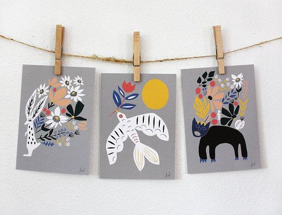 Kalidah, Dove, and Rabbit Print Set
