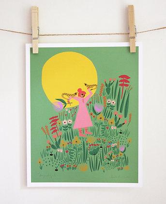 Lizard Girl Print