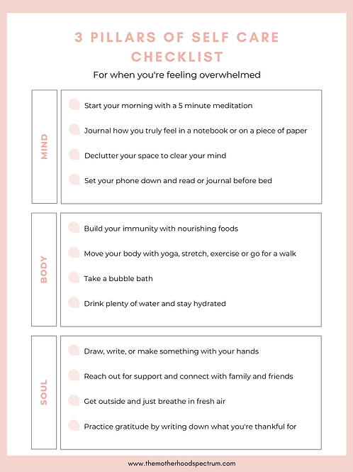 Self Care Pillars & Weekly Intention Checklist