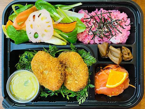 Bentô Korokké avec Sashimi de Saumon