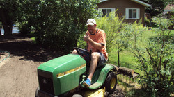 Seeding the new lawn
