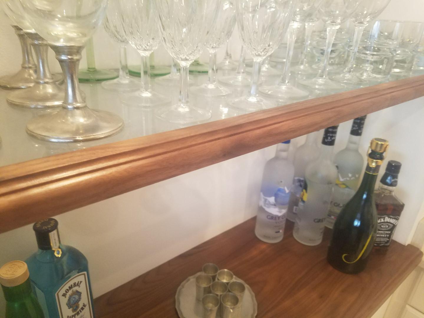 Custom Trimmed Glass Shelves