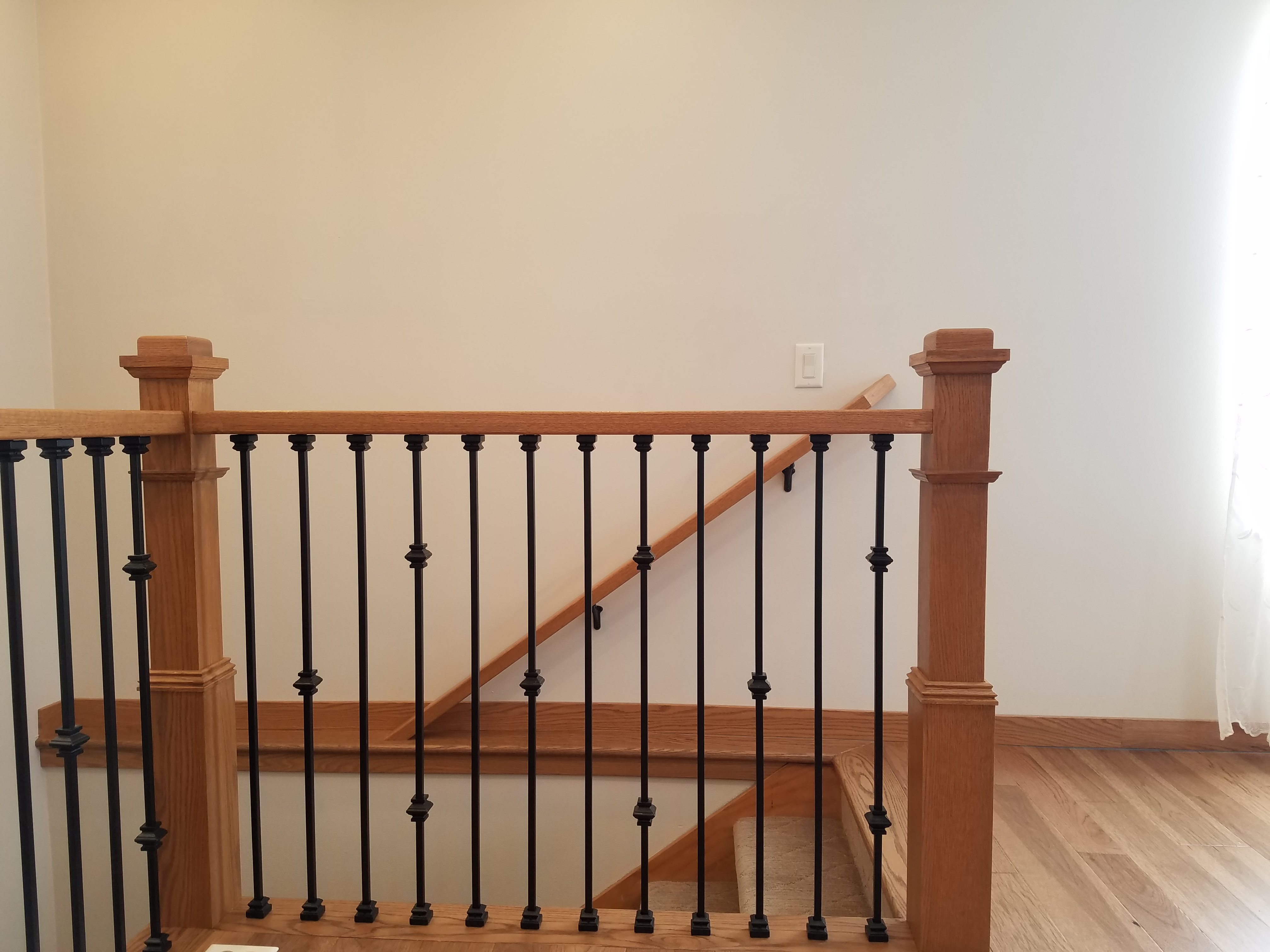 Stained Newel Posts-Stained to Match