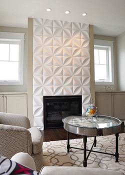 3 dimensional tile fireplace