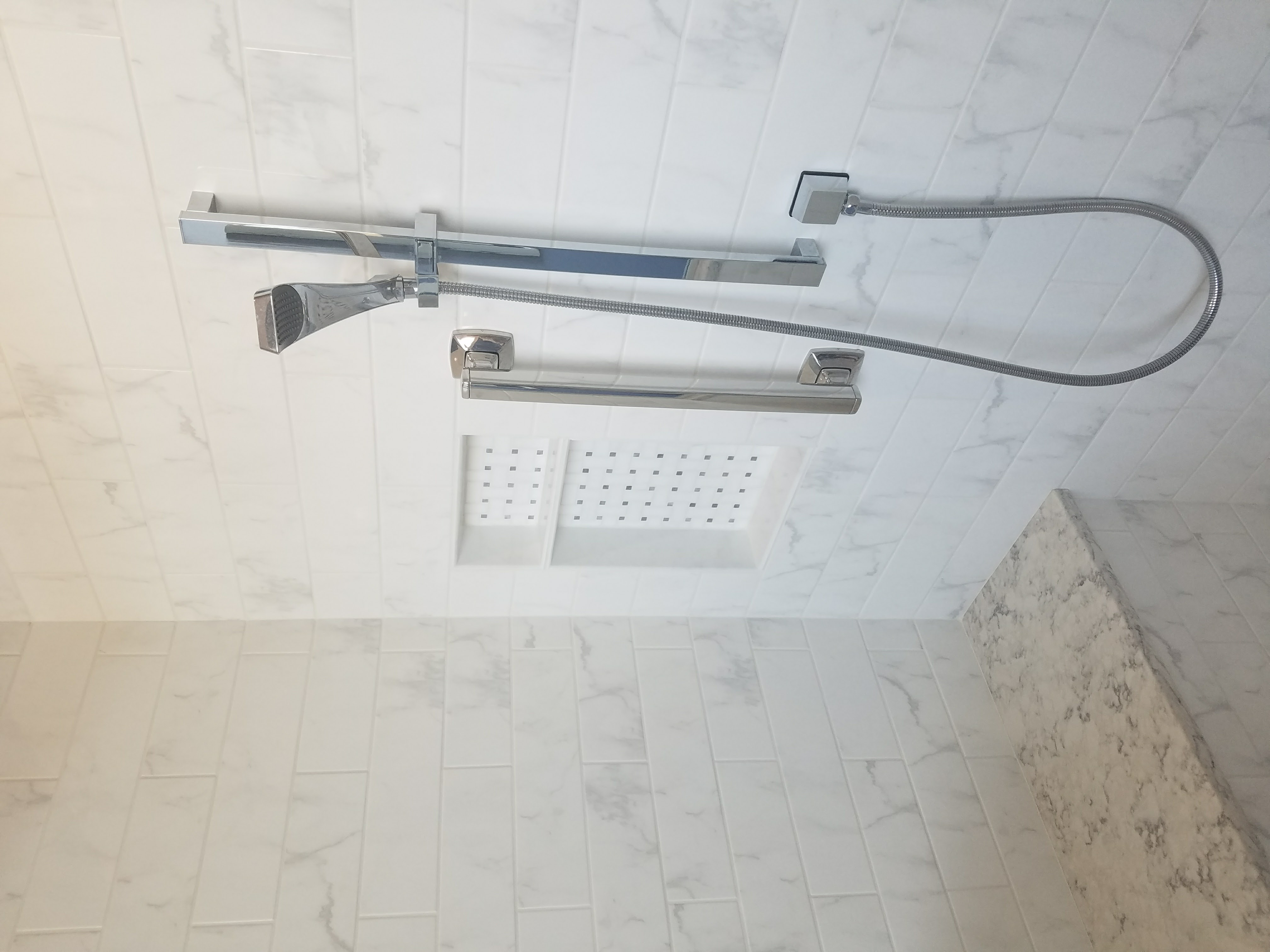 Chrome Hand Sprayer and Grab Bar