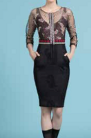 Embroidered Mulberry 3/4 Sleeve Sheath