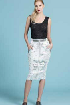Metallic Brocade Pencil Skirt in ZINC