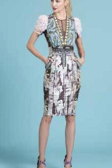 English Rose Mixed Media Dress