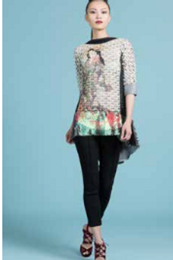 Geisha Tunic Top with Sequin Boarder