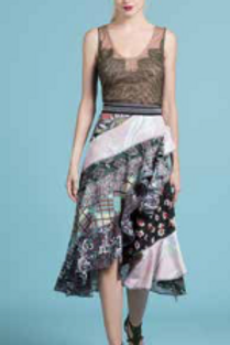 Print Collage Cascading Skirt