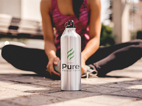 Pure Natural Vibes 20oz Aluminum Water Bottle