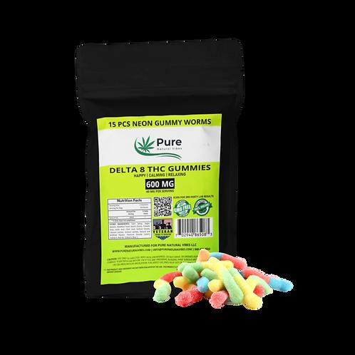 Delta 8-THC Neon Sour Gummy Worms