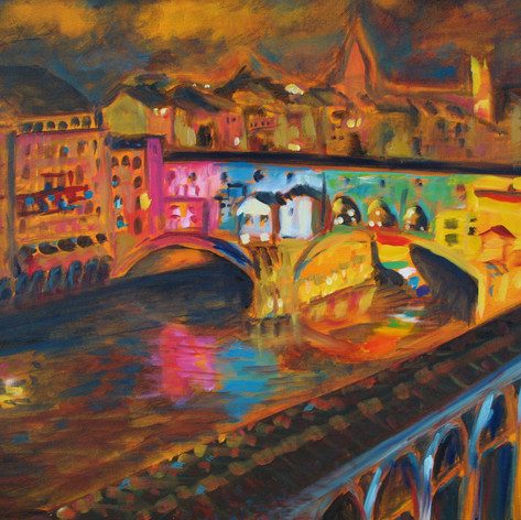Ponte Vecchio at Night | Acrylic on canvas 18x24anvas, 18x24