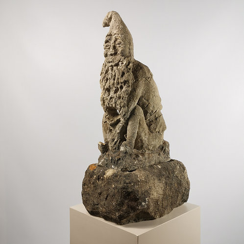 Carved Limestone Leprechaun