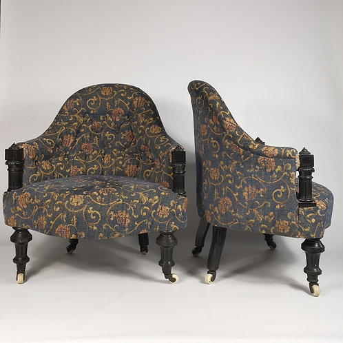 PAIR of CHAIRS , EBONY.Circa1870/1880