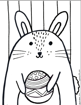 cute free printable easter bunny coloring page for kids