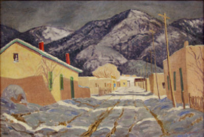 "Sheldon Parsons (1866-1943) ""Winter Afternoon on Canyon Road"