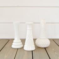 small milkglass budvases  1. ea  qty. 15