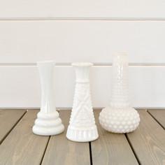 small milk glass bud vases  1. ea  qty. 15