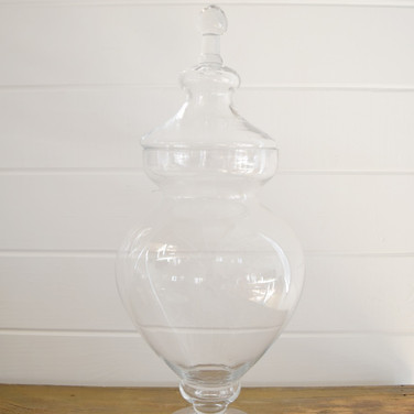 large glass apothecary with lid  15.  qty. 1