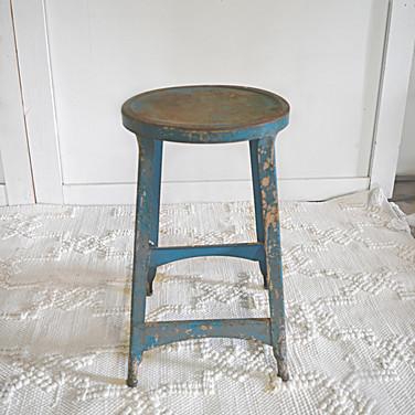 small blue metal stool  qty. 1