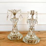glam crystal antique candlesticks  15. pair