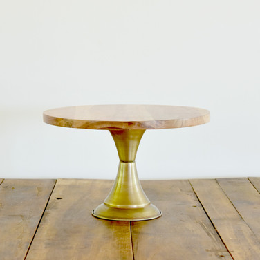 brass base wood top cake stand  20.  qty. 1