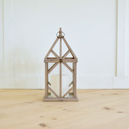 farmhouse glass and wood lanterns  qty. 3 large, 2 small