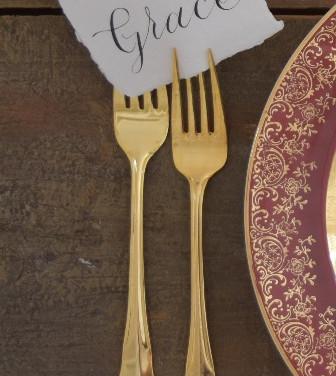 gold flatware  1. ea  qty. 4 each salad fork, dinner fork, butter knife