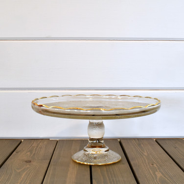 gold edged glass cake stand  15.